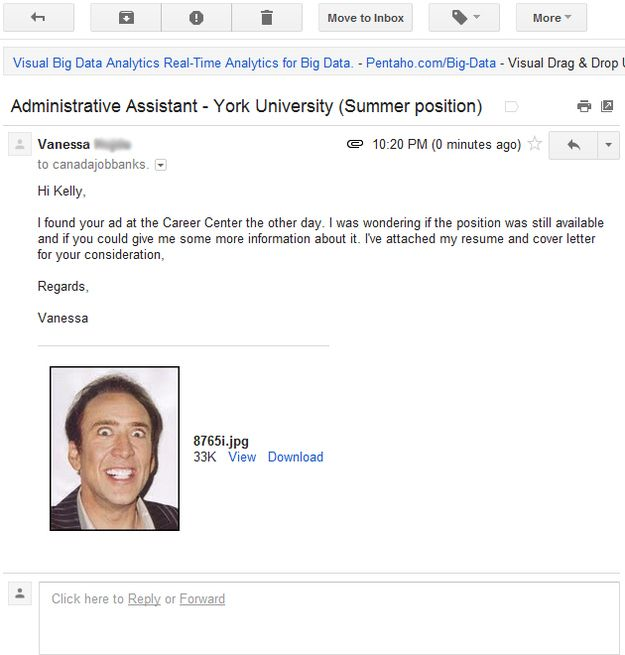 Girl Sends Nic Cage Headshot Instead Of Resume Giggle Snort - data analytics resume