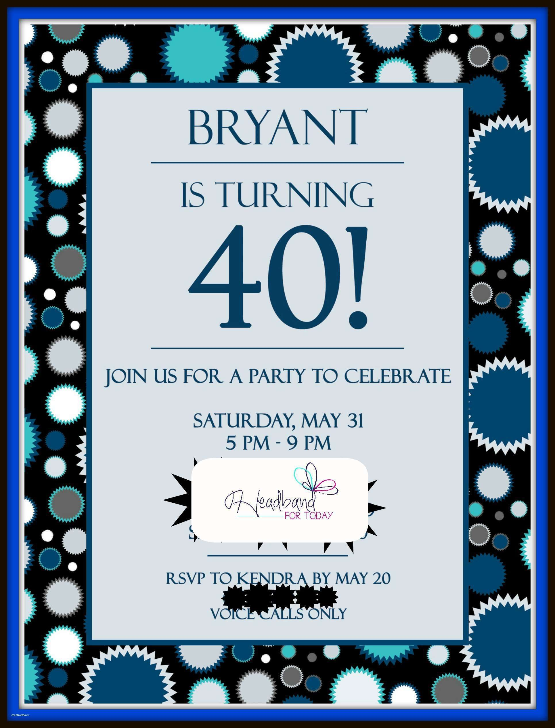 New 40th Birthday Party Invitations for Him 40th birthday parties