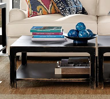 Helena Square Coffee Cube Table Weathered Black Finish Coffee - Pottery barn square coffee table
