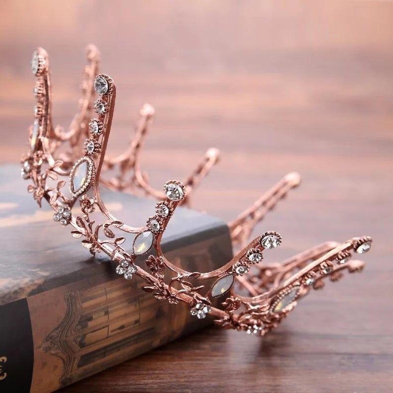 Vintage Baroque Round Crown Bridal Wedding Hair Accessories Crystal Rhinestone Big Hair Jewelry Wedding Pageant King Queen Tiara,bridal