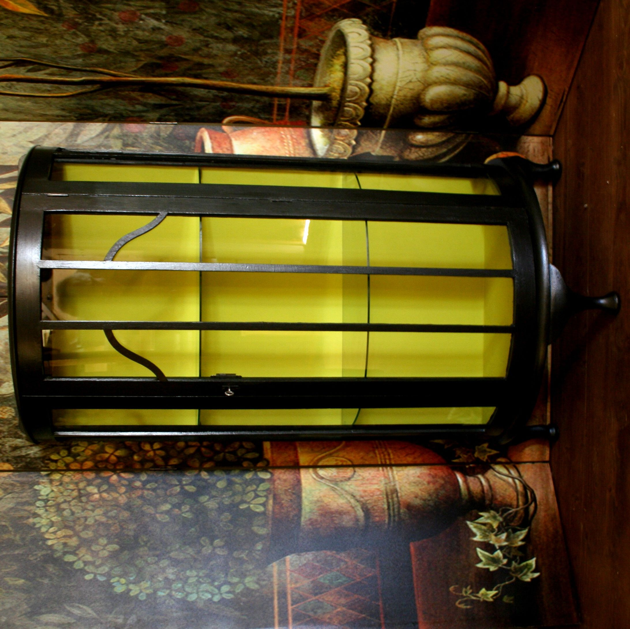 Vintage Style Glass Fronted Cabinet Lime Yellow Background