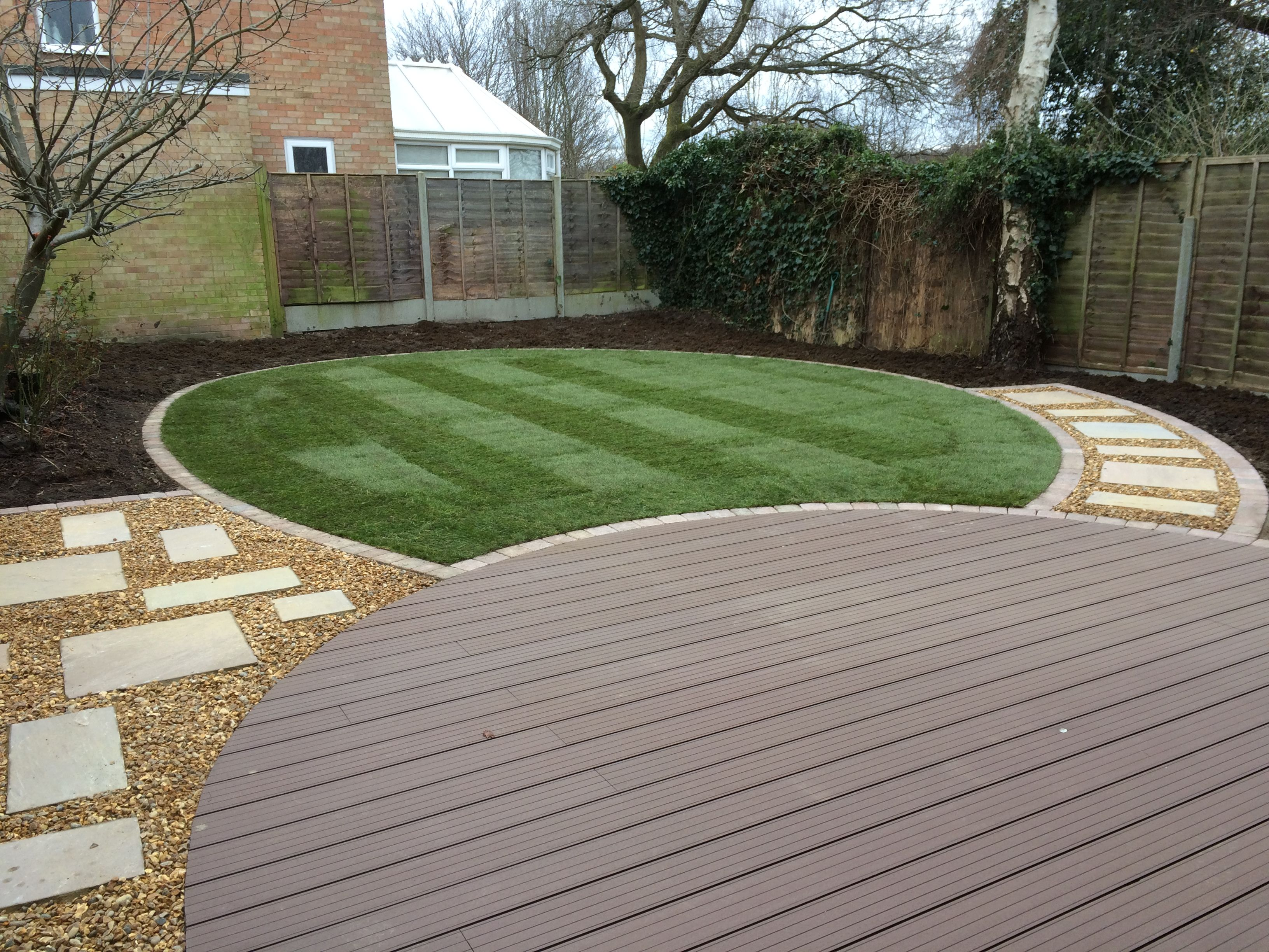 Low maintenance garden achieved using composite decking for Low maintenance garden