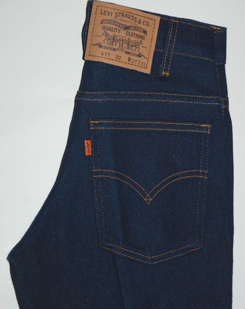 Vintage Levis 417 Orange Tab Jeans Sta Prest Stretch Bootcut Indigo Blue W27 L34 Levi Vintage Levis Jeans