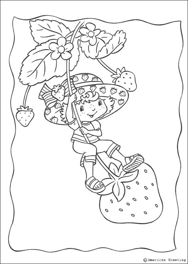 Strawberry Shortcake having a swing coloring page | Printables ...