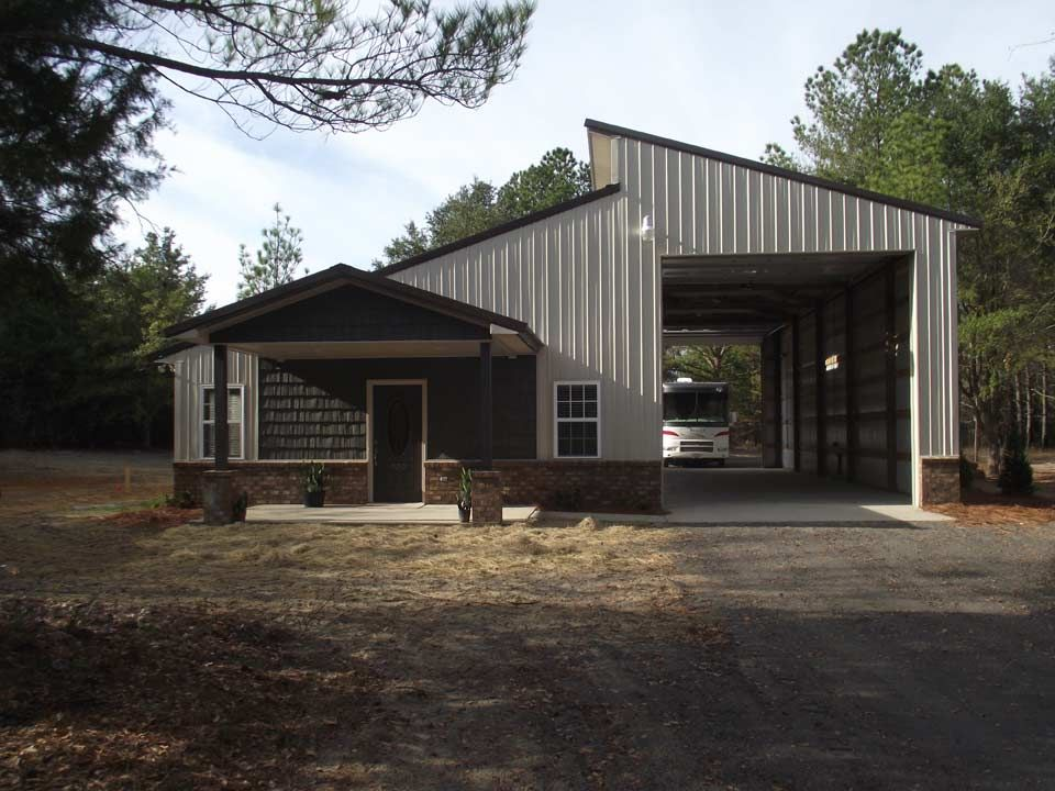 Interesting Combination Of Pole Building Structures Metal Garage Buildings Metal Building Designs Metal Barn Homes