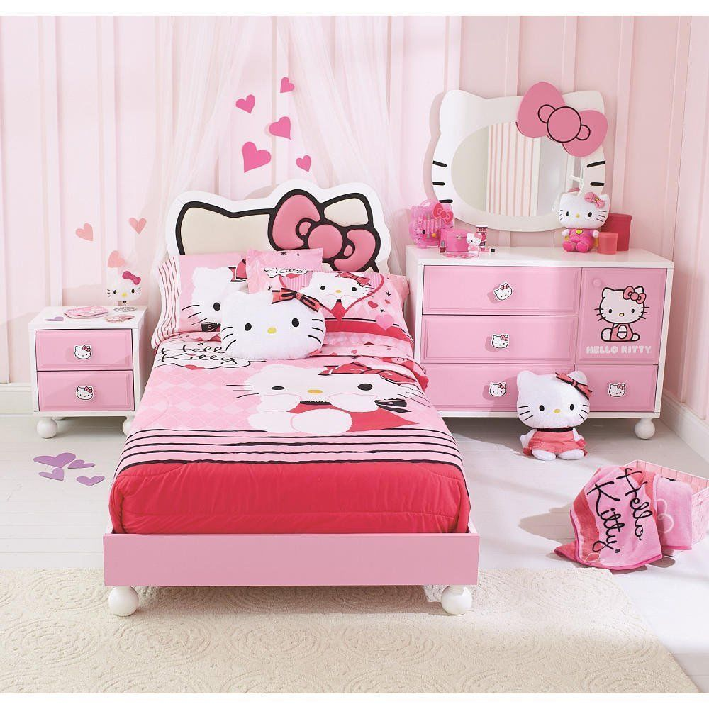 Incroyable Hello Kitty Bedroom Set Pink Bed Twin Bedding Room Youth Girls Princess  Child