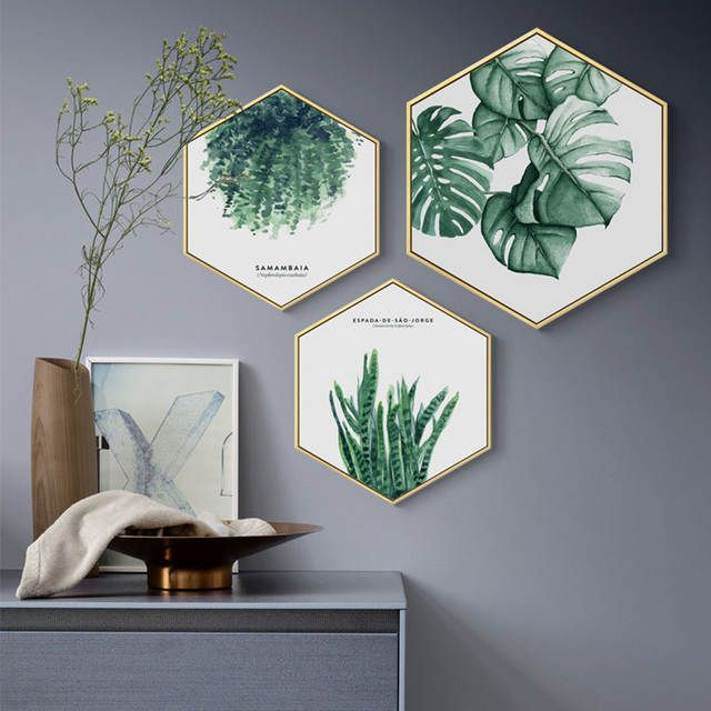 Online Shop Watercolor Plant Leaves Nordic Style Hexagon