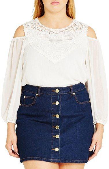 4b02d4cbb61 Plus Size Clothing For Women. City Chic  Romantic Motif  Cold Shoulder Top