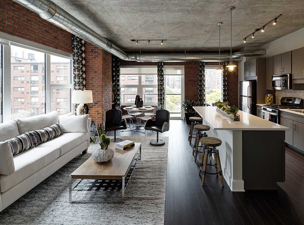 Modern Loft Living Room And Open Kitchen With Dark Hardwood Floors