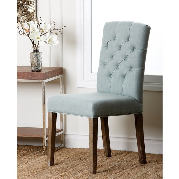 Abbyson Colin Seafoam Blue Linen Tufted Dining Chair