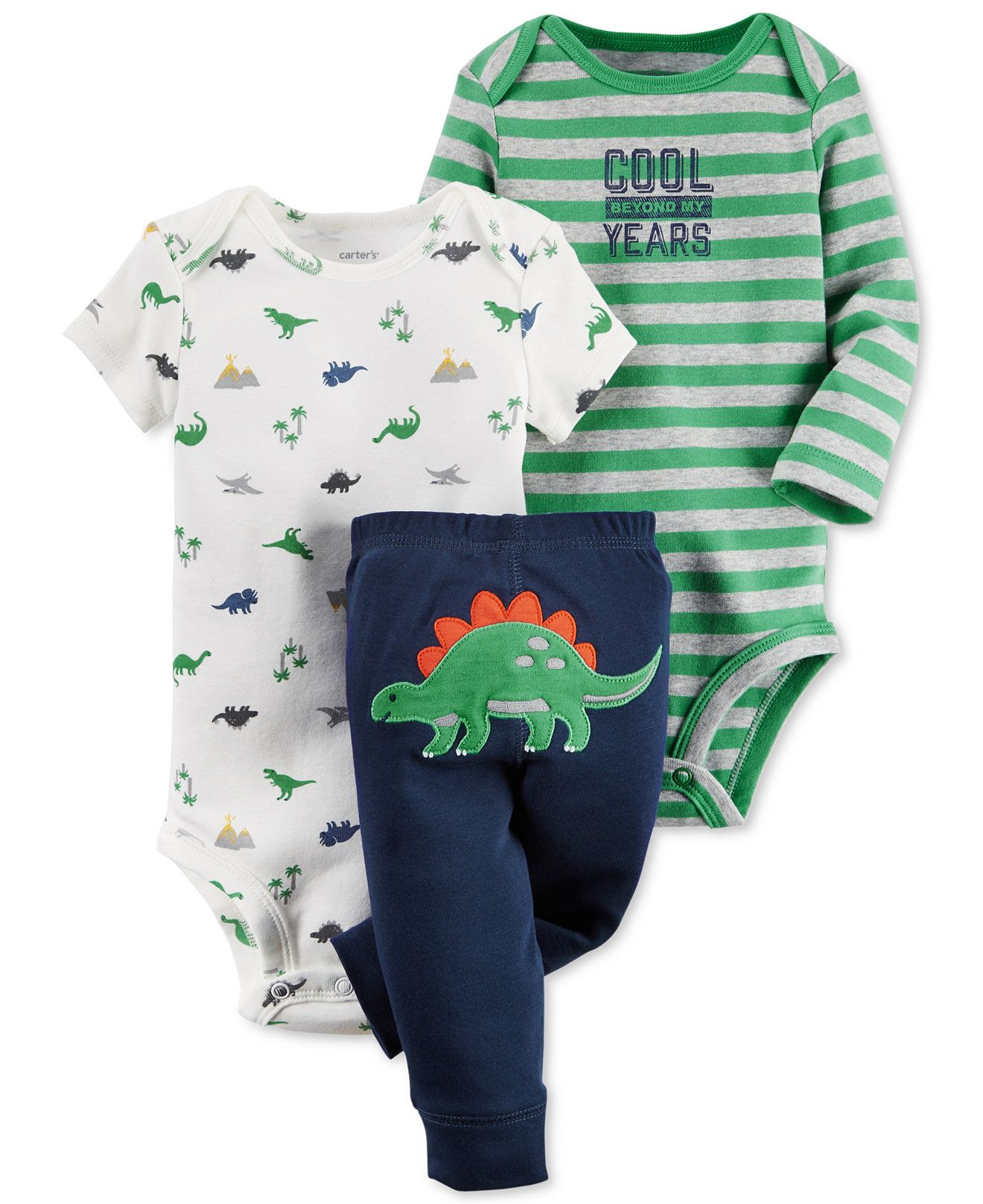 93ac3c23f Carter's Baby Boys' 3-Pc. Dinosaurs Bodysuits & Pants Set - Sets & Outfits  - Kids & Baby - Macy's