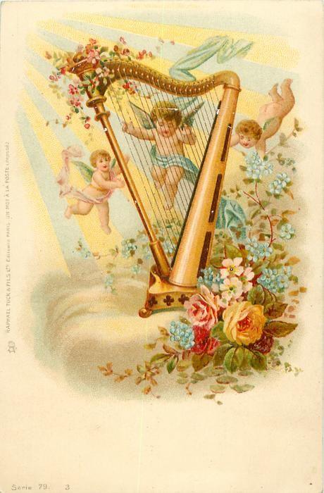 angel with cherubs, old style harp, flowers around