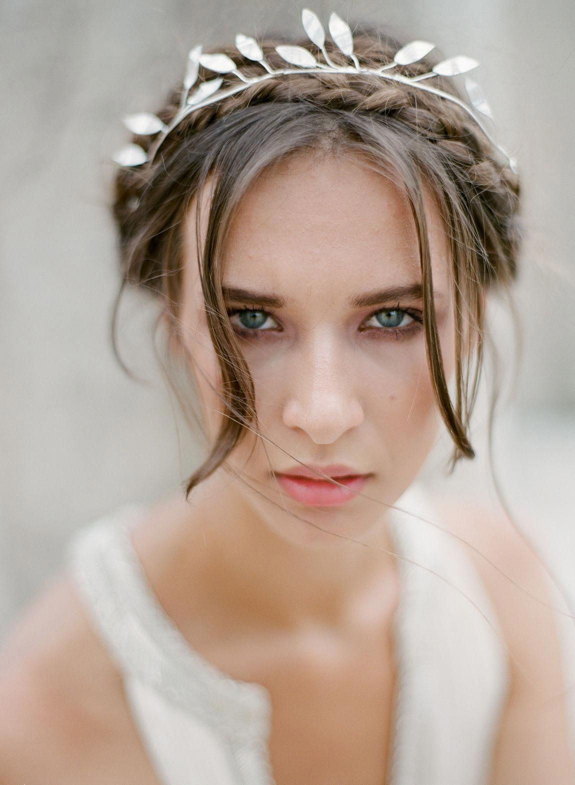The olivia headband handcrafted in the studio from olive leaves as