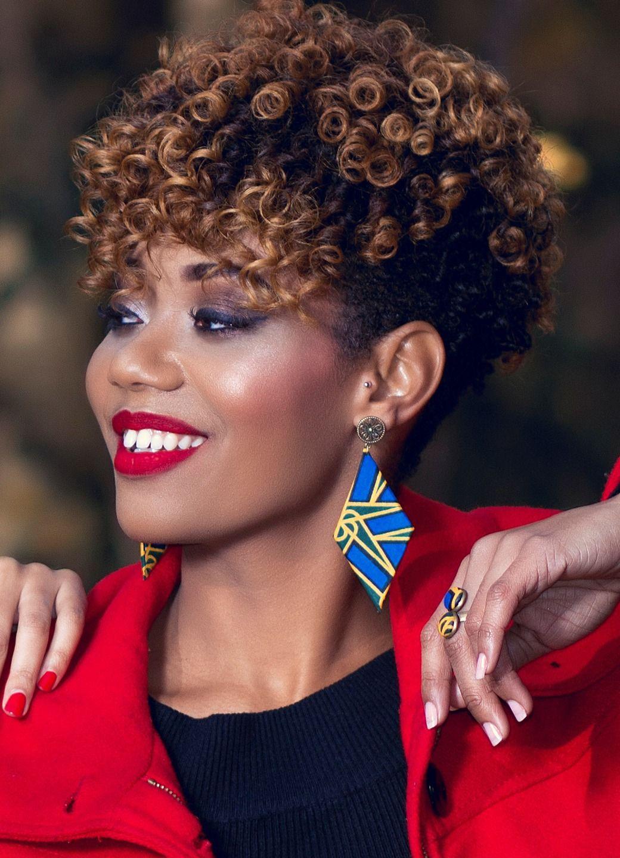 Boucles D Oreilles Dj 233 N 233 Bina Wax Pagne Africain Afro