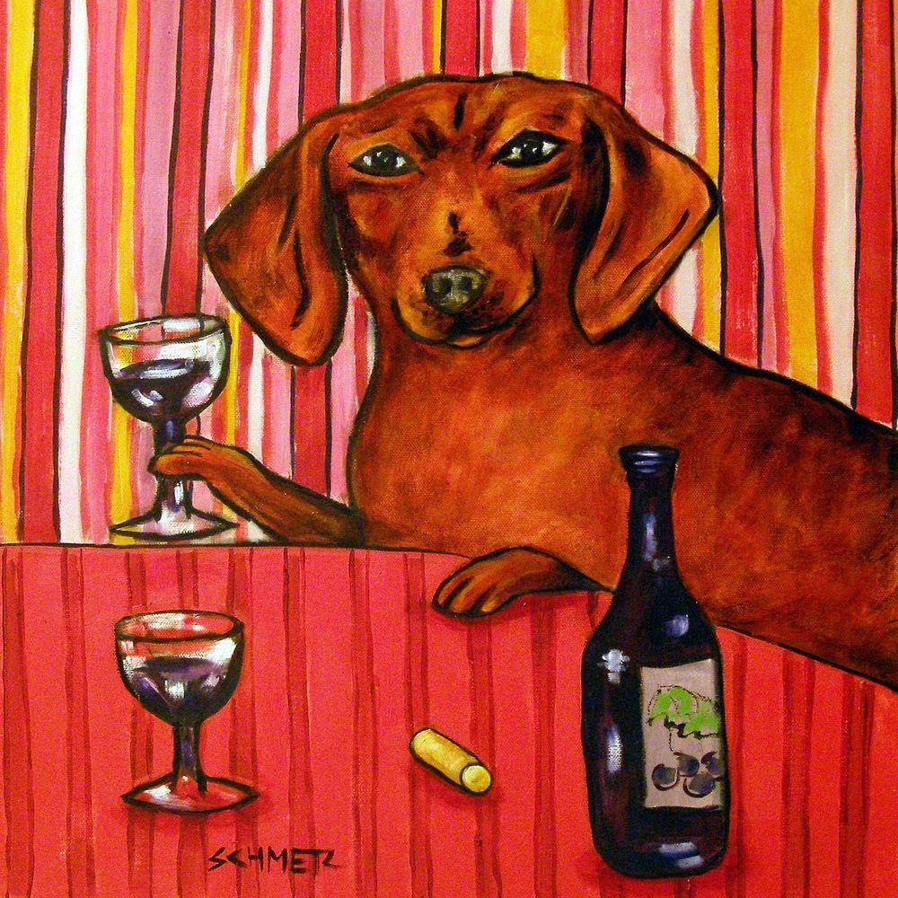 Dachshund At The Wine Bar Animal Ceramic Dog Art Tile Dog Print Art Coaster Art Dog Art