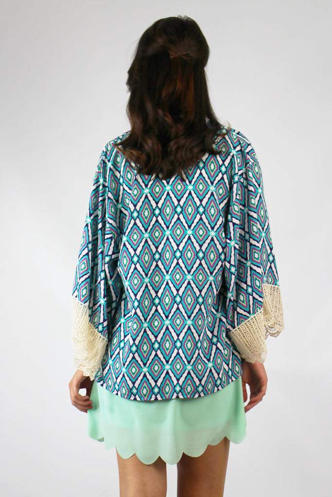 Printed kimono with lace detailing | Truly Yours Boutique $40