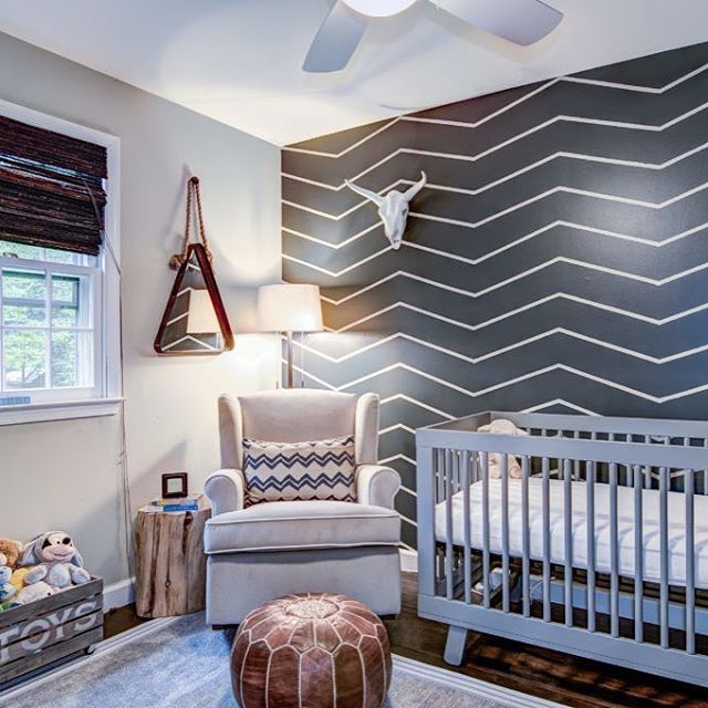 Transitional Nursery With Rustic Wood Wall: DIY FTW! Some Painter's Tape And A Can Of Paint Was All It