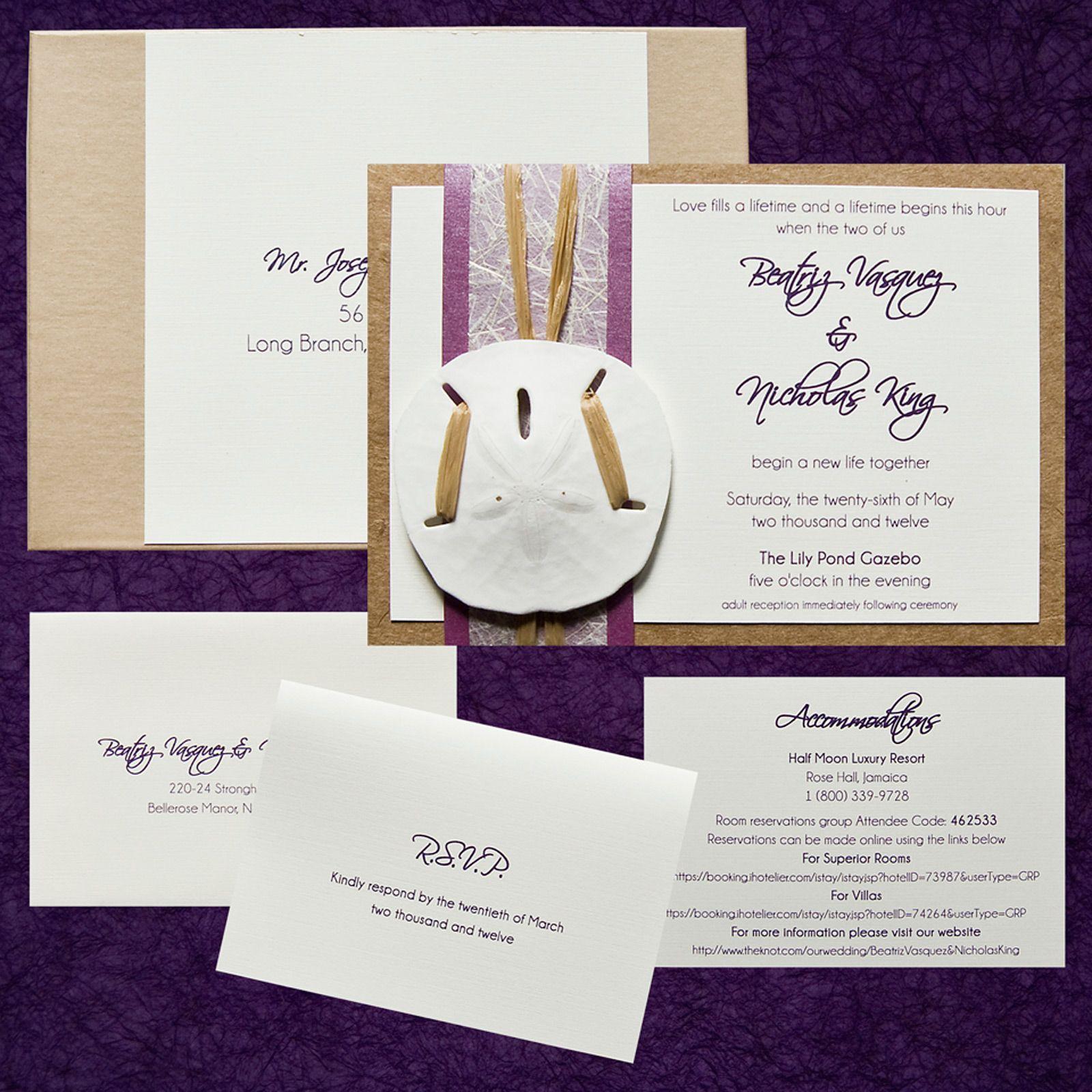 box wedding invitation, recycled paper, purple metallic paper ...