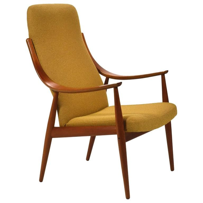 Peter Hvidt U0026 Orla Mølgaard Nielsen High Back Easy Chair, Ochre Yellow  Upholstered Chair, Mustard Yellow