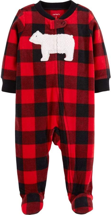 Baby Boy Carter's Microfleece Buffalo Plaid Bear Sleep ...