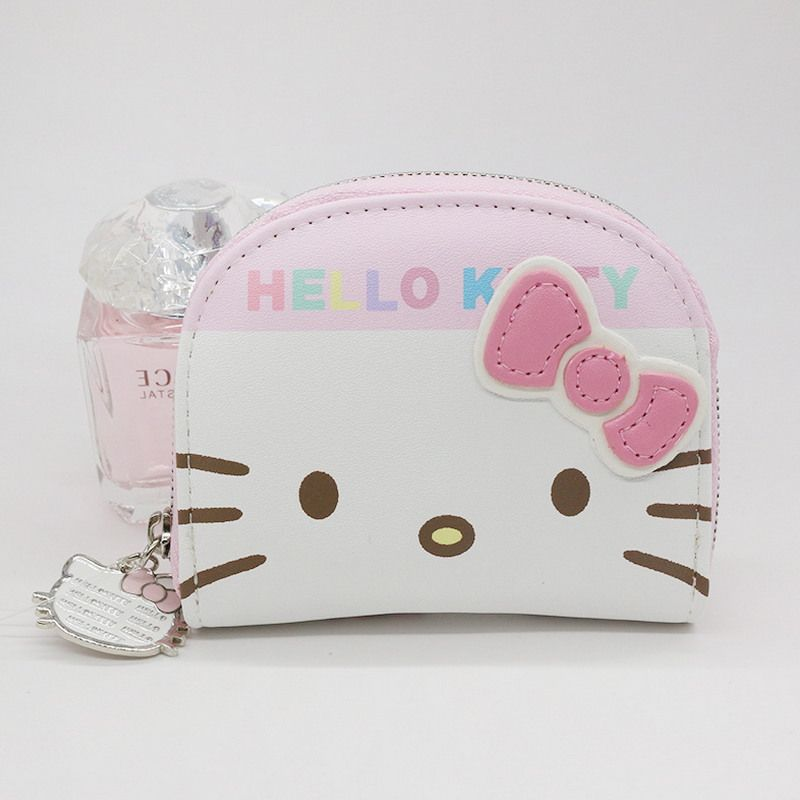 Free shipping character business card holder women zipper wallet free shipping character business card holder women zipper wallet high quality pu white and pink hello reheart Choice Image