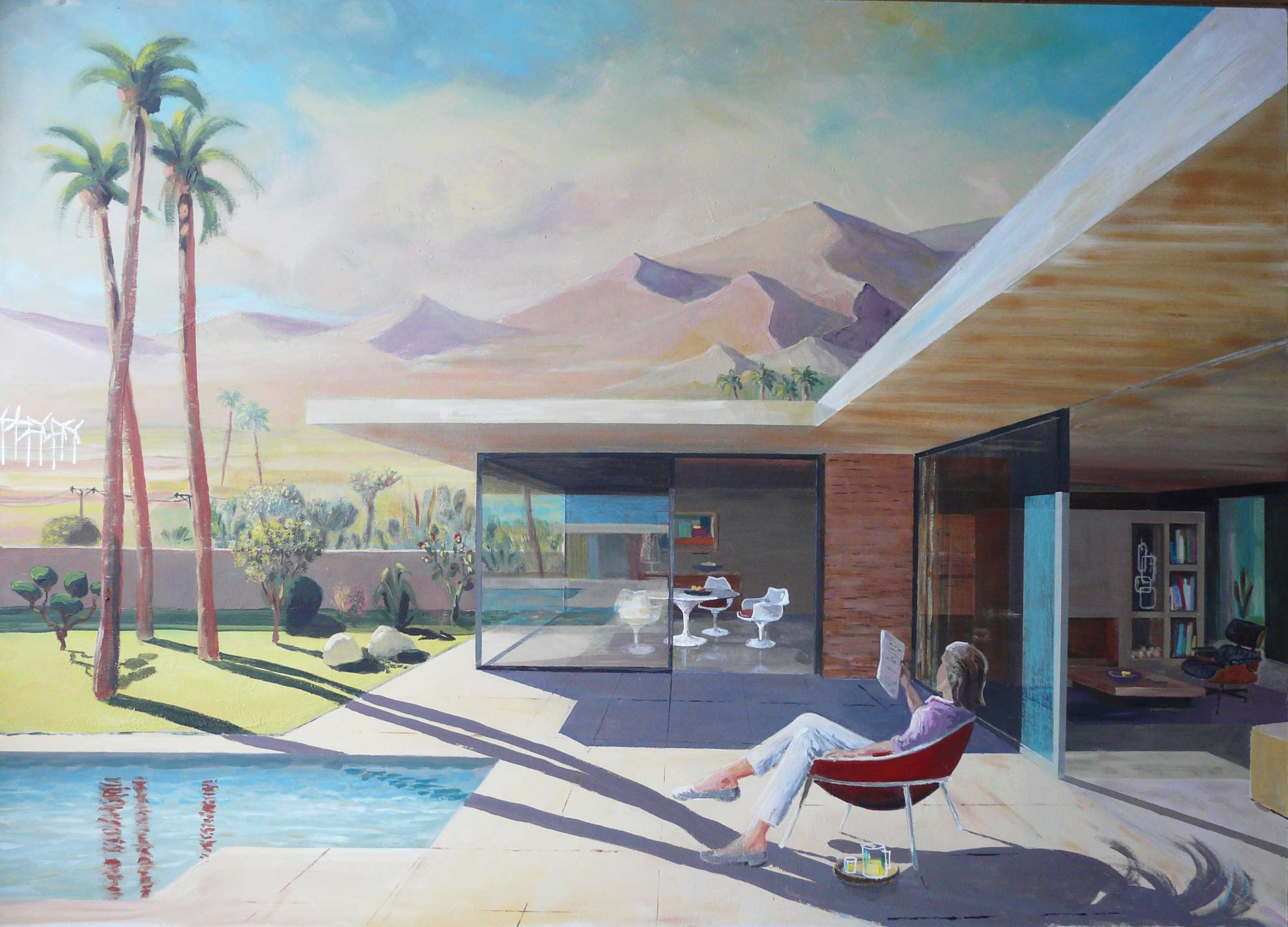 House Paintings mid-century modern house painting - william f. cody architect