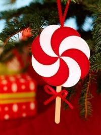 Easy christmas xmas paper craft for kids. Peppermint swirl lollypop
