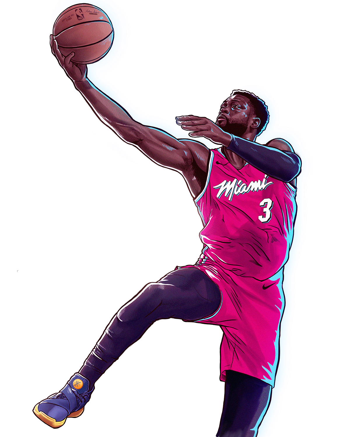 Nba Dwyane Wade Bday Illustration Miami Vice Edition On Behance Nba Basketball Art Dwyane Wade Basketball Players Nba