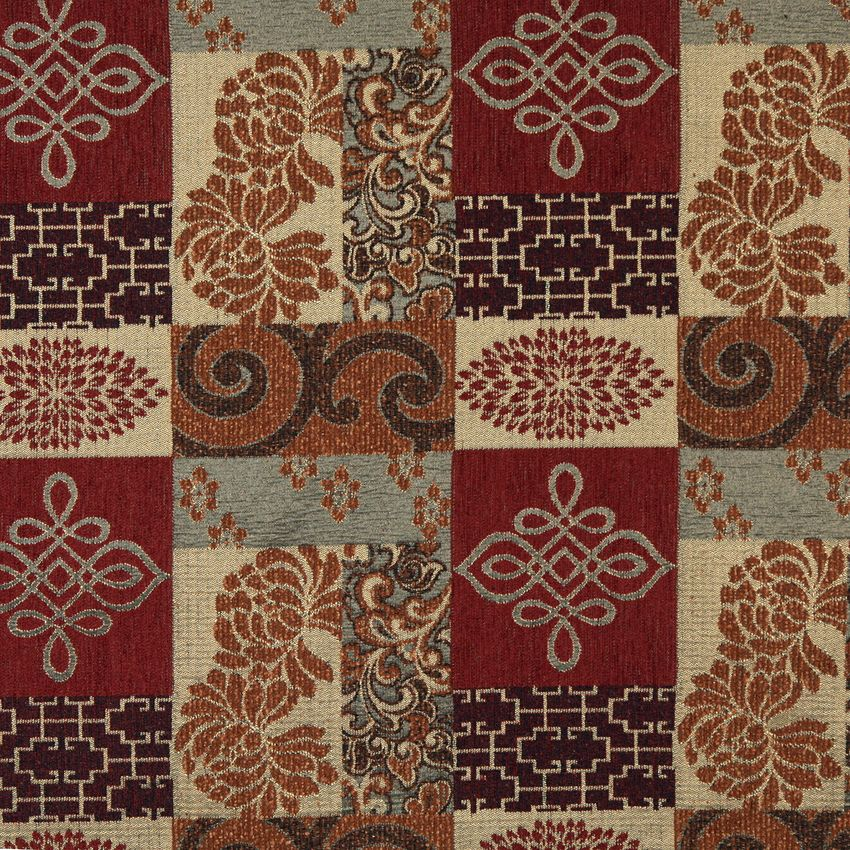 Vintage Brown and Burgundy Country Chenille Tapestry Upholstery ...