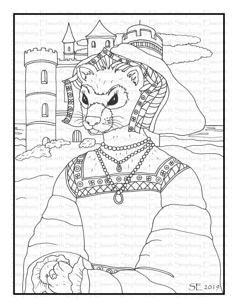 Lady Evangeline Ferret Coloring Page Coloring Pages Online