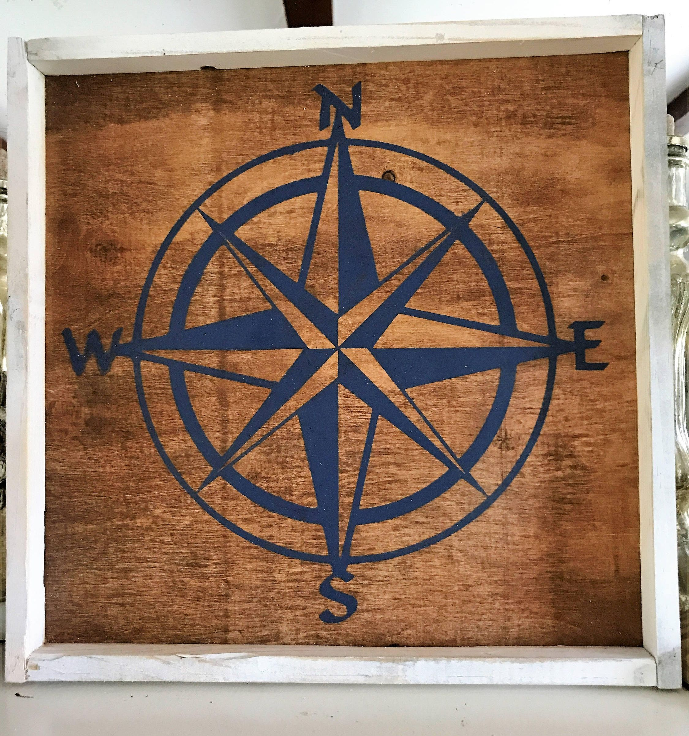 Compass rose wooden sign nautical compass star framed wood sign farmhouse style rustic sign by theweatheredplanks on etsy