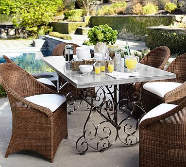 Rosalie Rect Dining Table & Dining Chair Set (6 Palmetto Arm), Honey