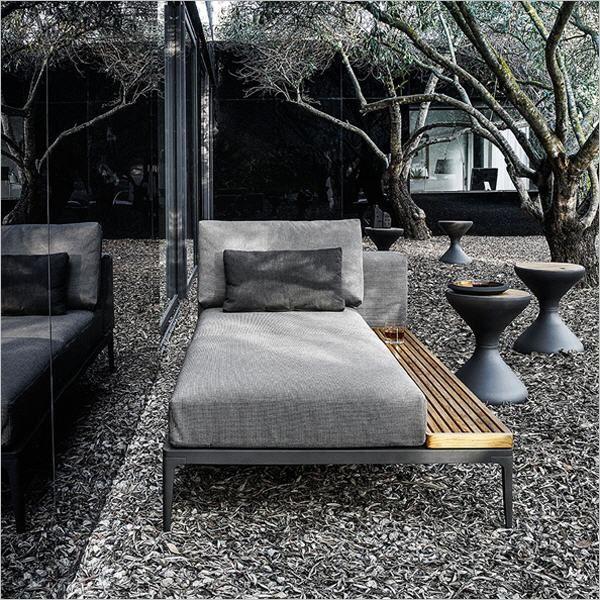 Gloster Grid Chaiselongue - Lounge Gartenmöbel bei Gartenag - gartenmobel lounge rund