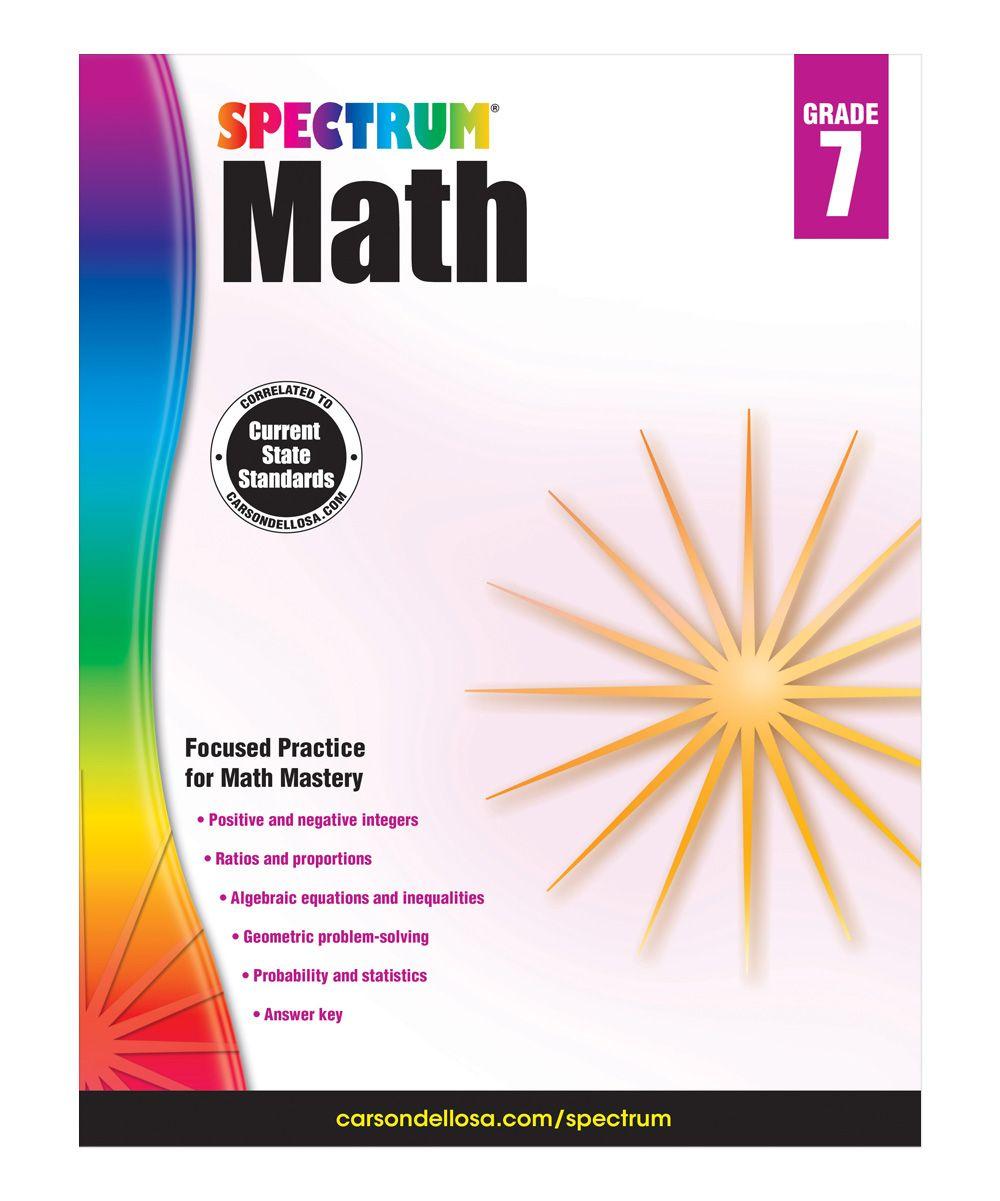 Grade 7 Spectrum Math Workbook Math Workbook Spectrum And Products