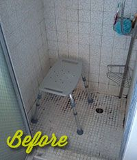 Before: This shower lacked space and style.   See www.tossthetub.com for the incredible After! #BathroomRemodel #BathroomRenovation #ShowerRemodel #BeforeAndAfter