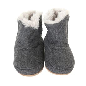 3f436247ab859 These grey flannel soft sole baby boots have a light grey faux fur ...