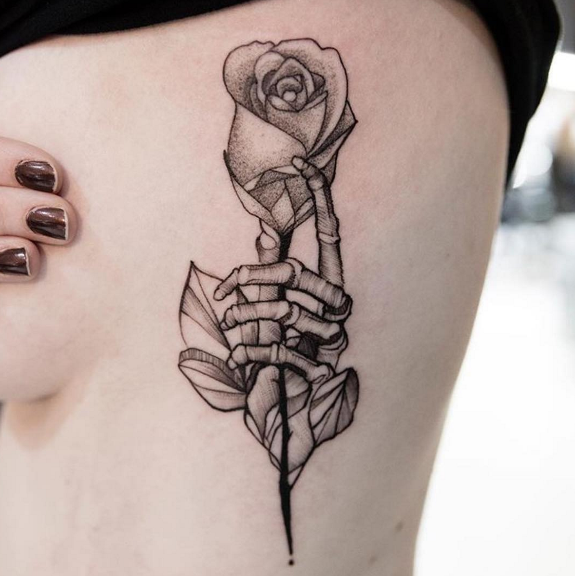 Rose In Skeleton Hand Tattoo By @romaytheart Diego Romay