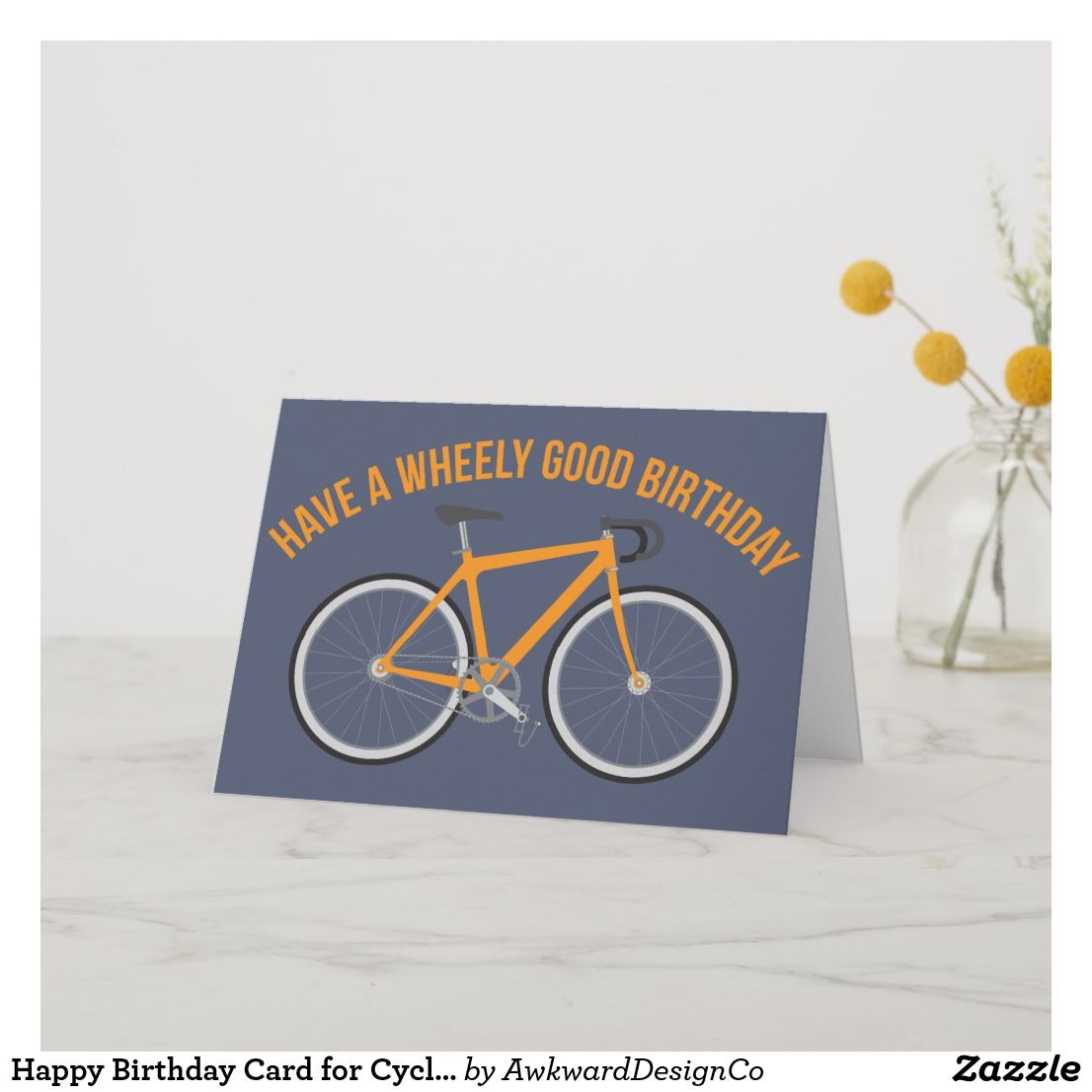 Happy birthday card for cyclists and bike riders happy