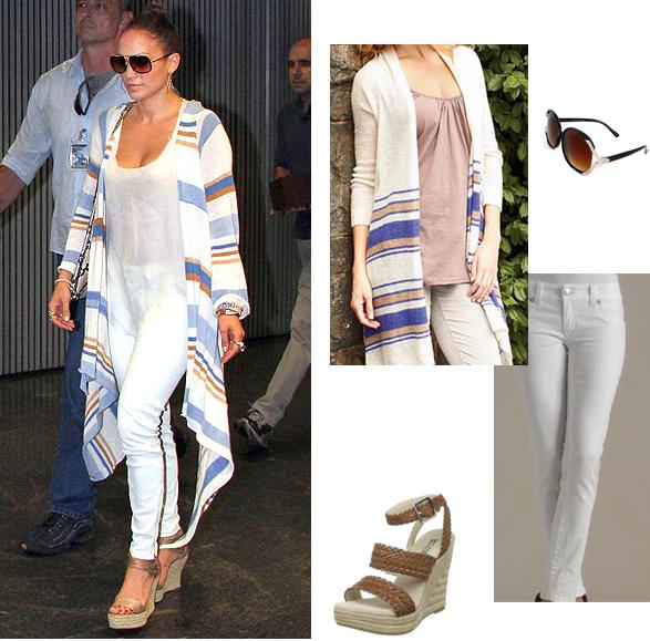 Jennifer Lopez Fashion Style Jennifer Lopez Celebrity Look For Less Casual Look White Jeans