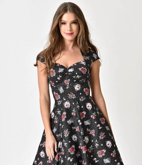8ddf3ae1626b Hell Bunny Black & Traditional Print 1950s Style Stevie Cotton Dress ...