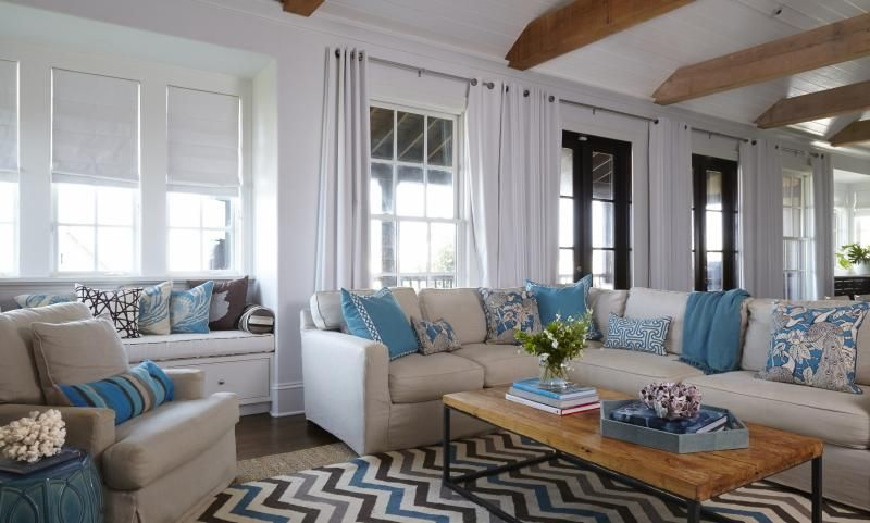 Natural wood beams, painted v-board ceiling (matching wall color)  (In Good Taste: Tracery Interiors - Design Chic)