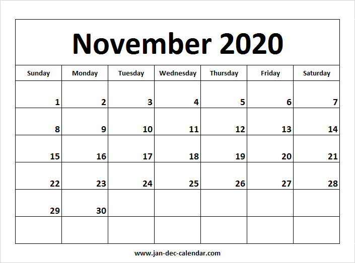 Printable Calendar For November December 2020 And January 2020 November 2020 Calendar | January December Calendar | September