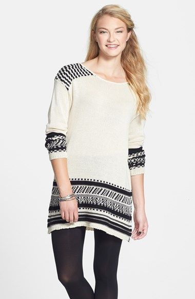 d3d58b1b9c4 Free shipping and returns on Volcom  Dark Water  Intarsia Sweater Dress  (Juniors) at Nordstrom.com. Pixelated patterns are cast into the shoulders