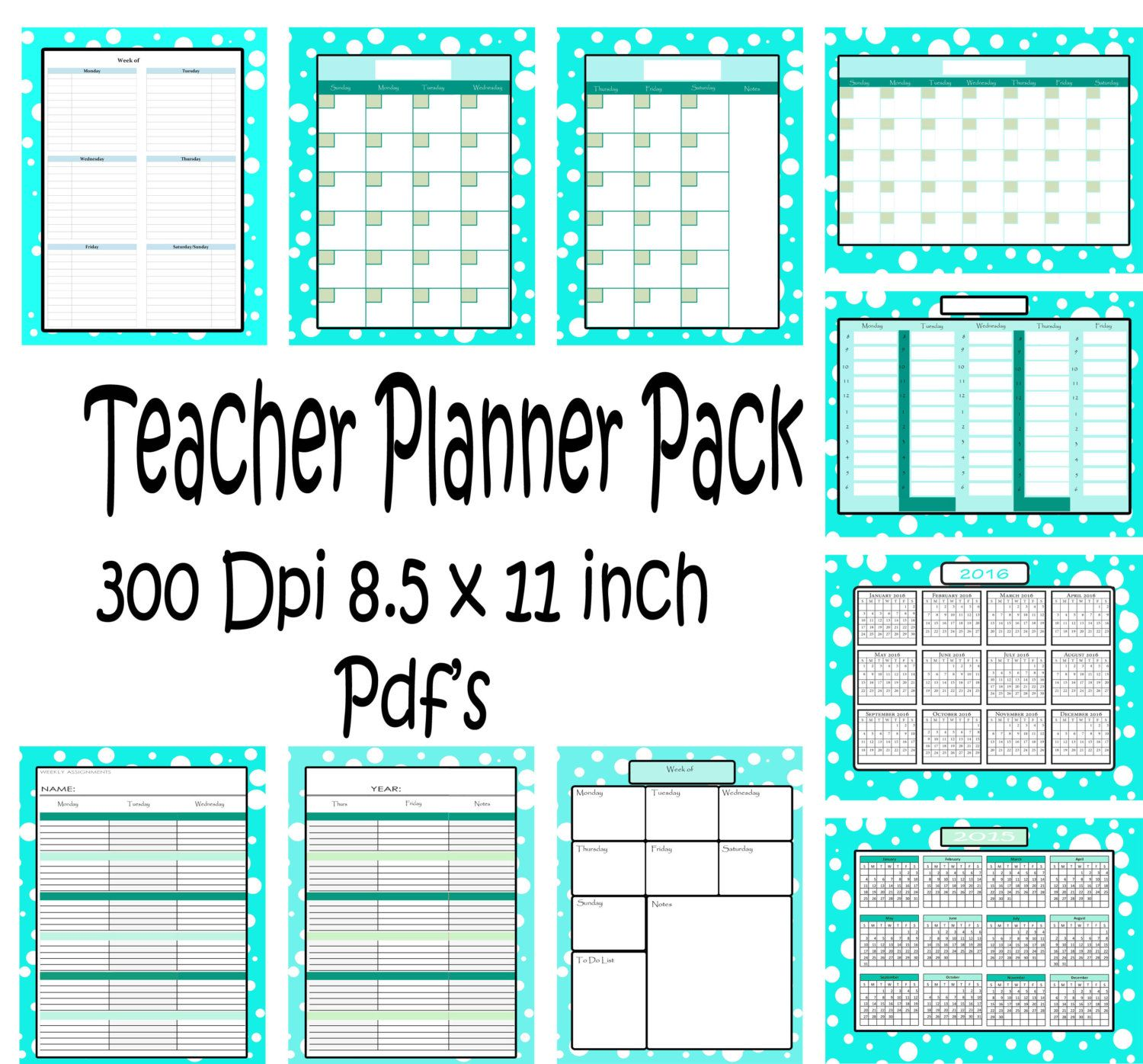 Teachers Planner Pack  Different One Page Planning Calenders