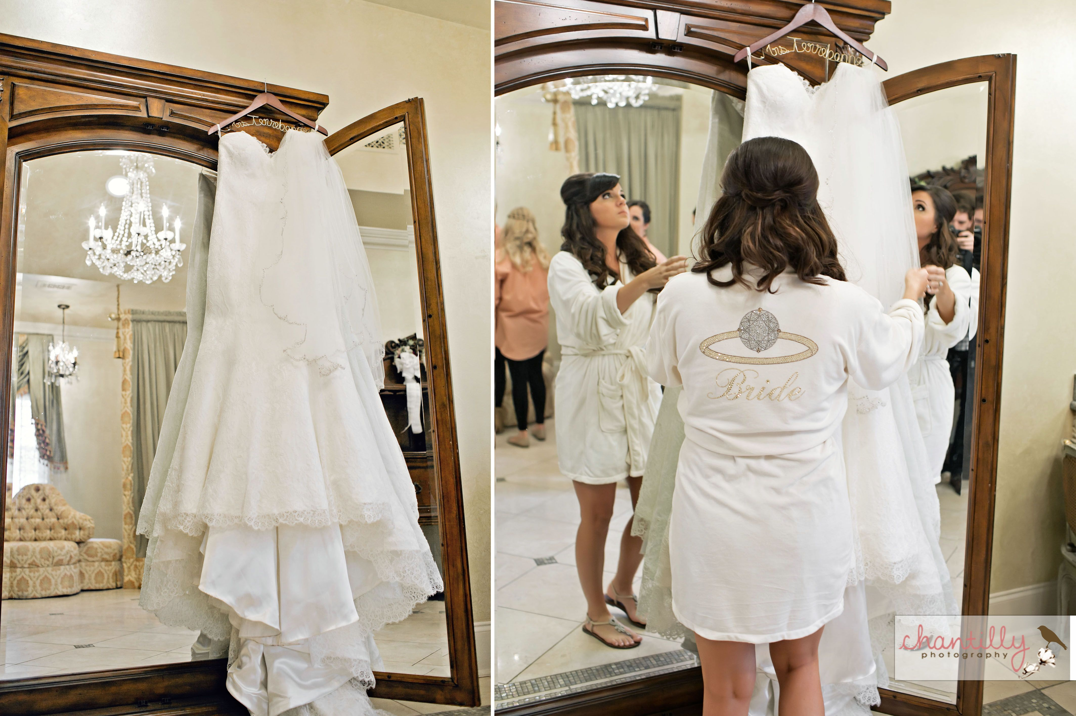 the bride getting ready in our bridal dressing room nottoway