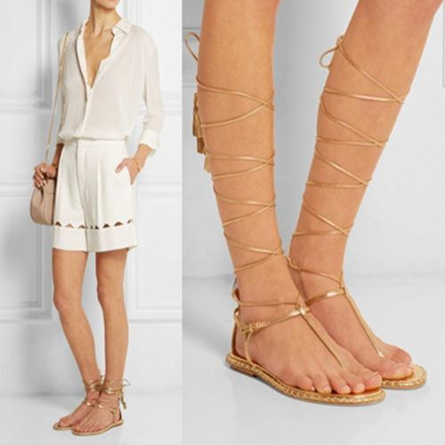 e8a6ac382 Women-Gold-Silver-Lace-Up-Strappy-Tassel-Knee-High-Roman-Gladiator-Sandals- Flats
