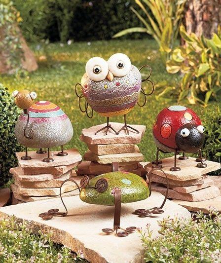 Rock Garden Friends Whimsical Garden Statues Ornaments Frog Ladybug Owl Turtle Rock Garden Design Garden Art Whimsical Garden