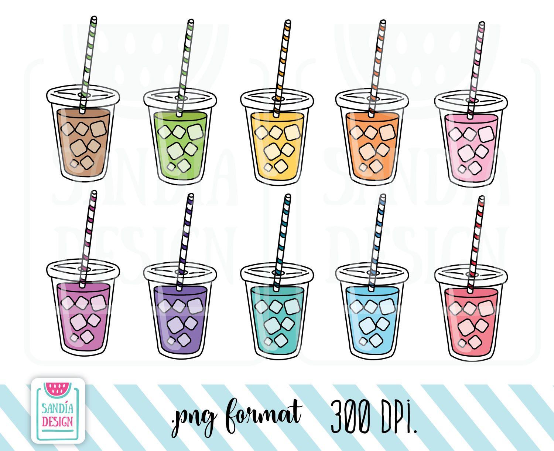 10 Doodle Frozen Drink, Frozen Tea, Frozen Coffee Clipart ...