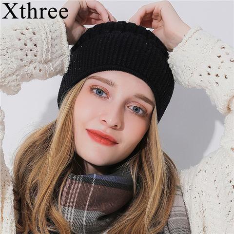 Xthree Winter Beanie Hat For Women Girl  s Skullies Beanies Glittering  Rhinestone Knitted Gorro Wool Female Hats 49fa2b52cb86