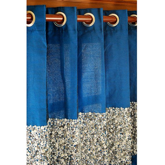 Glamorous Blue Sequin Embroidered Silk Curtain Panels 52 x84  Grommet Drapes Living Bedroom Window Treatments Blackout is part of bedroom Blue Window - Glamorous Blue Sequin Embroidered Silk Curtain Panels 52 x84  Grommet Drapes Living Bedroom Window Treatments Blackout                                                                       This is a beautiful and contemporary Royal Blue Silk Curtain with a thick band of exquisite sequins and beads embroidery  The backside has a matching Cotton Lining  The curtain is a Grommet (Eyelet) style curtain  This luxurious hand crafted curtain will bring life to your bedroom  The price mentioned on the listing is the per panel price measuring 84'' in height and 52  in width  I can make the curtain in any custom size and color as per your requirement  Convo me for customized orders   This curtain can also be made in blackout fabric as the lining  Convo me and I will let you know the quote accordingly  Notes 1  The Order Qty can be increased to multiple numbers  Please make a note in your transaction details or send me a message through the Etsy Convo System  2  This design can be customized to the size of your choice  Just drop me a convo with size details  3  The products shipped will be same as shown in the picture  Begin decorating your house with our products!